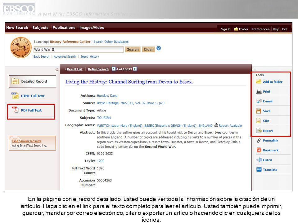 En la página con el récord detallado, usted puede ver toda la información sobre la citación de un artículo.