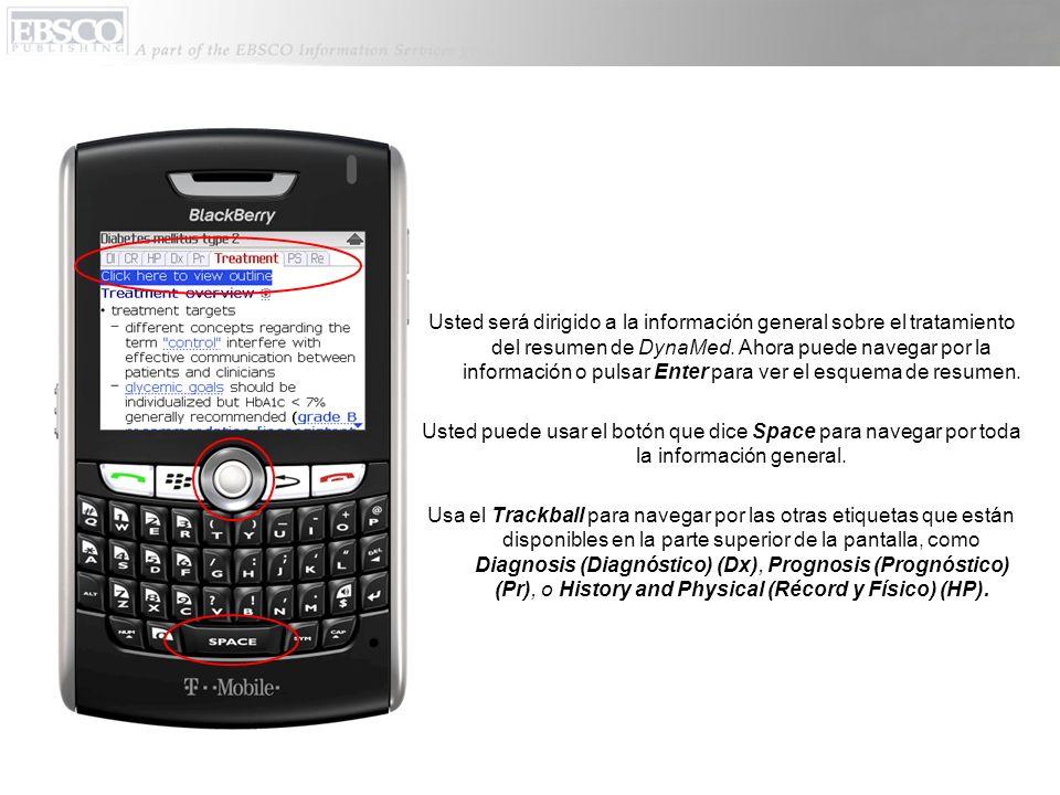 Usted será dirigido a la información general sobre el tratamiento del resumen de DynaMed.