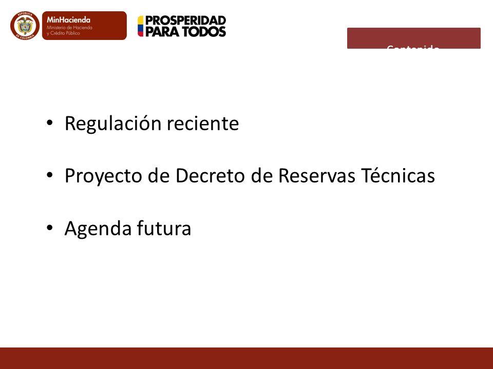 Regulación reciente Proyecto de Decreto de Reservas Técnicas Agenda futura Contenido