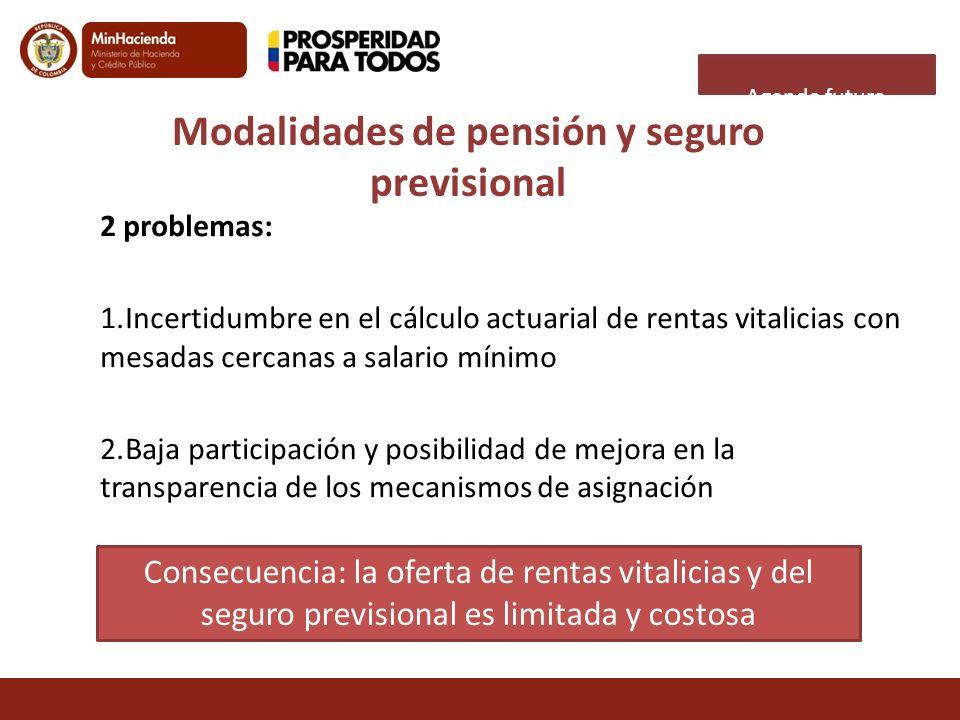 2 problemas: 1.Incertidumbre en el cálculo actuarial de rentas vitalicias con mesadas cercanas a salario mínimo 2.Baja participación y posibilidad de
