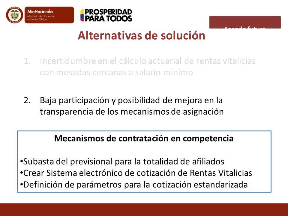 Agenda futura 1.Incertidumbre en el cálculo actuarial de rentas vitalicias con mesadas cercanas a salario mínimo 2.Baja participación y posibilidad de