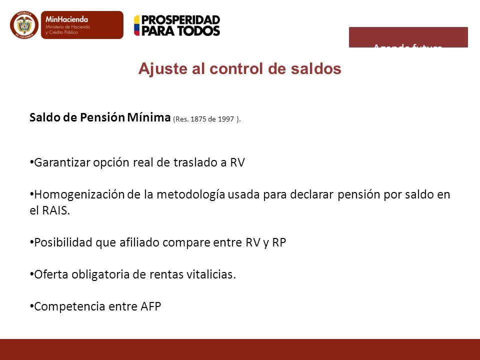 Agenda futura Saldo de Pensión Mínima (Res. 1875 de 1997 ). Garantizar opción real de traslado a RV Homogenización de la metodología usada para declar