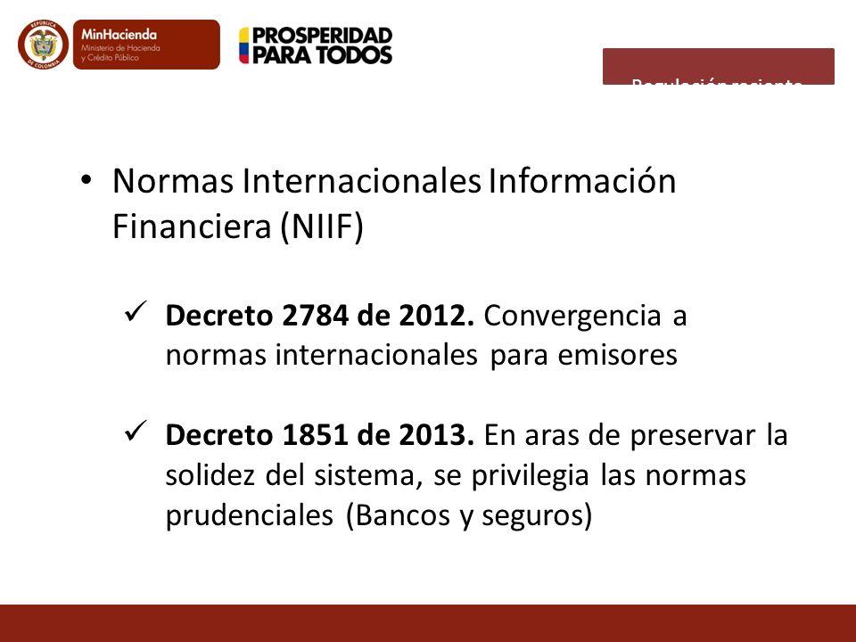 Normas Internacionales Información Financiera (NIIF) Decreto 2784 de 2012. Convergencia a normas internacionales para emisores Decreto 1851 de 2013. E