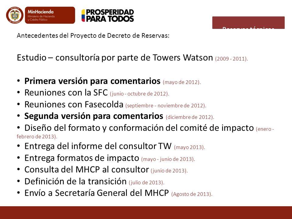 Antecedentes del Proyecto de Decreto de Reservas: Estudio – consultoría por parte de Towers Watson (2009 - 2011). Primera versión para comentarios (ma