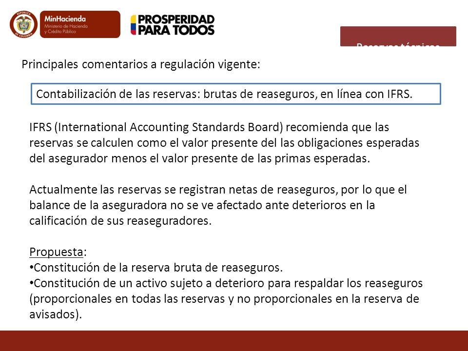 Principales comentarios a regulación vigente: Contabilización de las reservas: brutas de reaseguros, en línea con IFRS. IFRS (International Accounting