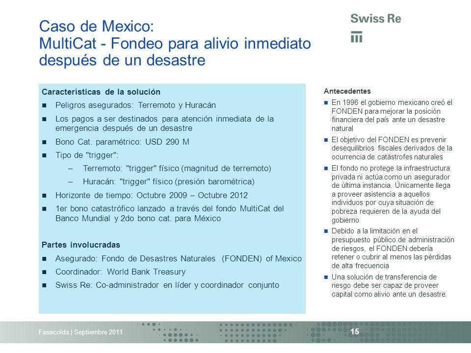Fasecolda | Septiembre 2011 15 Caso de Mexico: MultiCat - Fondeo para alivio inmediato después de un desastre Antecedentes En 1996 el gobierno mexican
