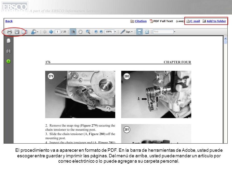 El procedimiento va a aparecer en formato de PDF.
