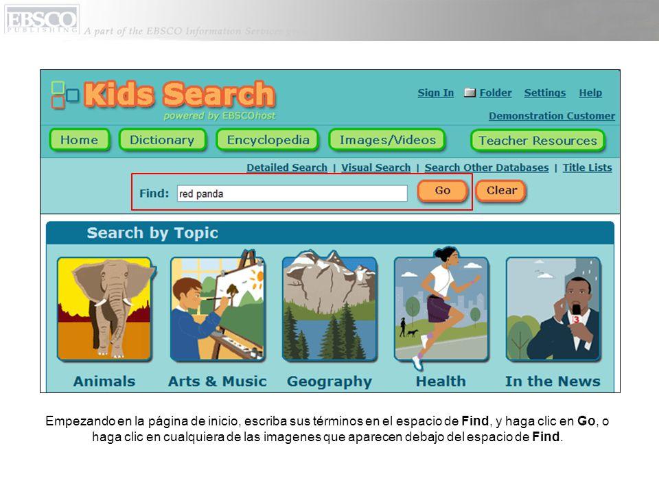 Tipos de fuentes representados en la lista de resultados aparecen en cuadros coloriados arriba en la pantalla.