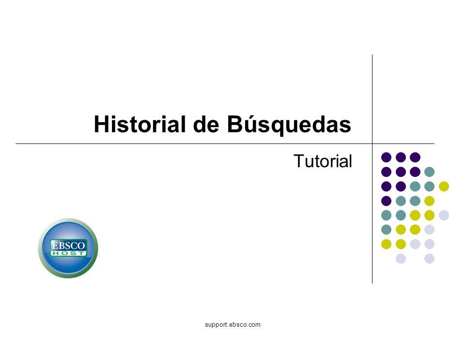 Bienvenido al tutorial de EBSCOhost sobre Search History (Historial de Búsquedas).