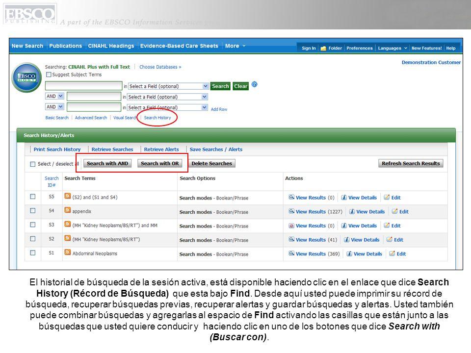 El historial de búsqueda de la sesión activa, está disponible haciendo clic en el enlace que dice Search History (Récord de Búsqueda) que esta bajo Fi