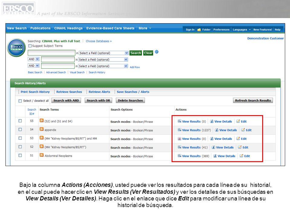 Bajo la columna Actions (Acciones), usted puede ver los resultados para cada línea de su historial, en el cual puede hacer clic en View Results (Ver R