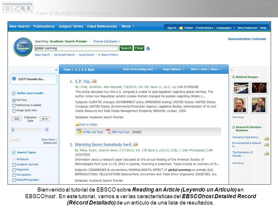 Bienvenido al tutorial de EBSCO sobre Reading an Article (Leyendo un Artículo) en EBSCOhost.