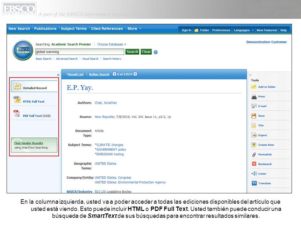 En la columna izquierda, usted va a poder acceder a todas las ediciones disponibles del artículo que usted está viendo.