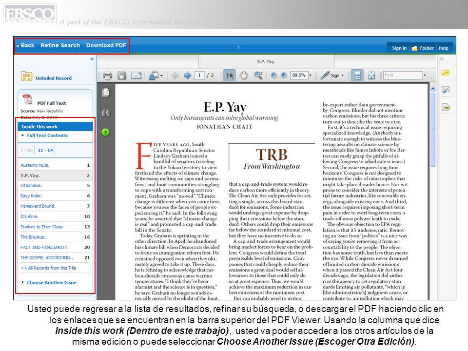 Usted puede regresar a la lista de resultados, refinar su búsqueda, o descargar el PDF haciendo clic en los enlaces que se encuentran en la barra superior del PDF Viewer.
