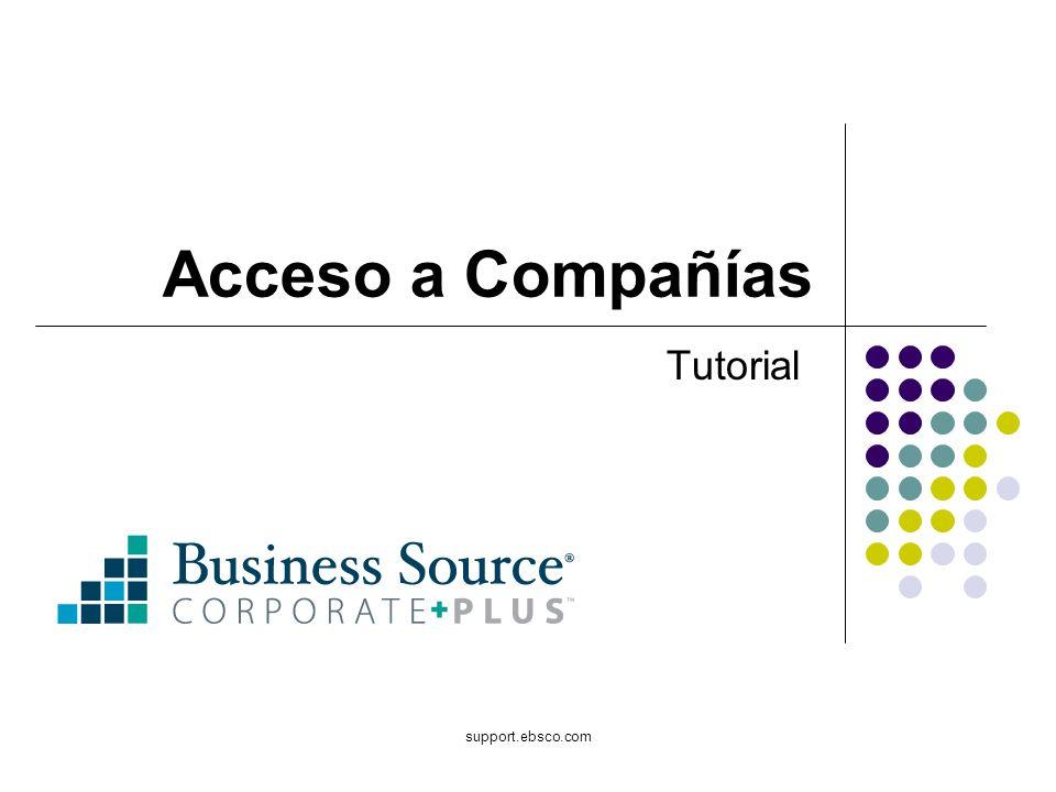 support.ebsco.com Acceso a Compañías Tutorial
