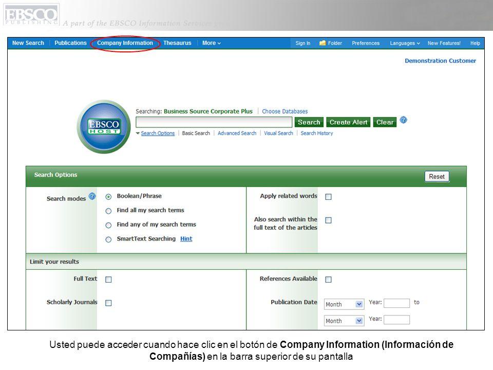 Usted puede acceder cuando hace clic en el botón de Company Information (Información de Compañías) en la barra superior de su pantalla
