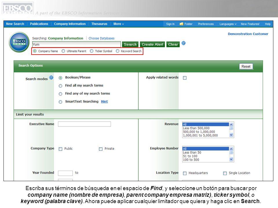 Escriba sus términos de búsqueda en el espacio de Find, y seleccione un botón para buscar por company name (nombre de empresa), parent company empresa