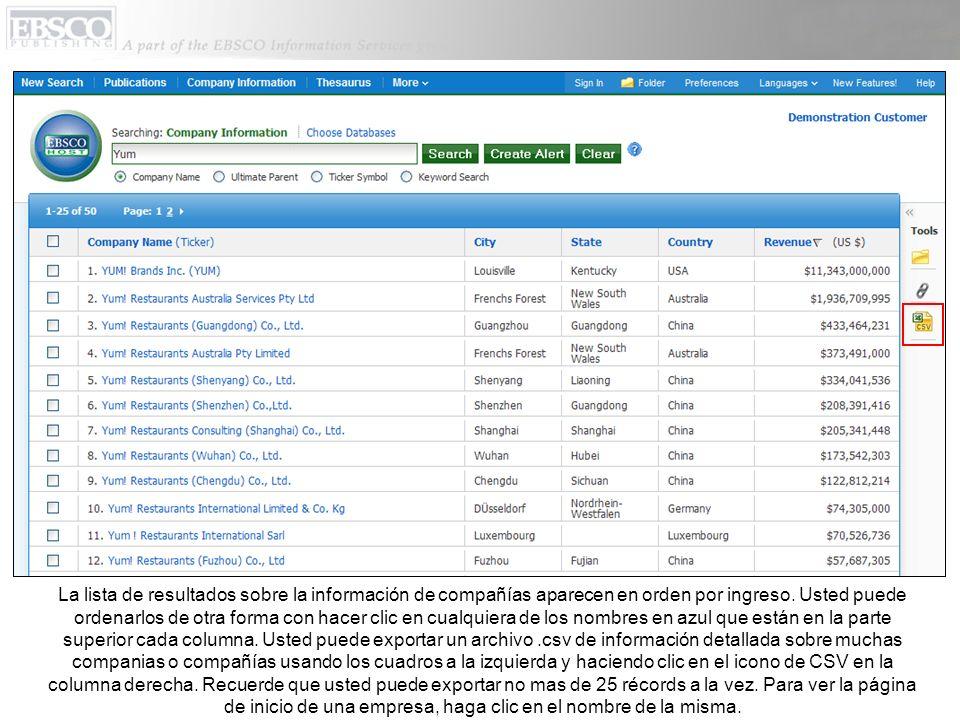 La lista de resultados sobre la información de compañías aparecen en orden por ingreso.