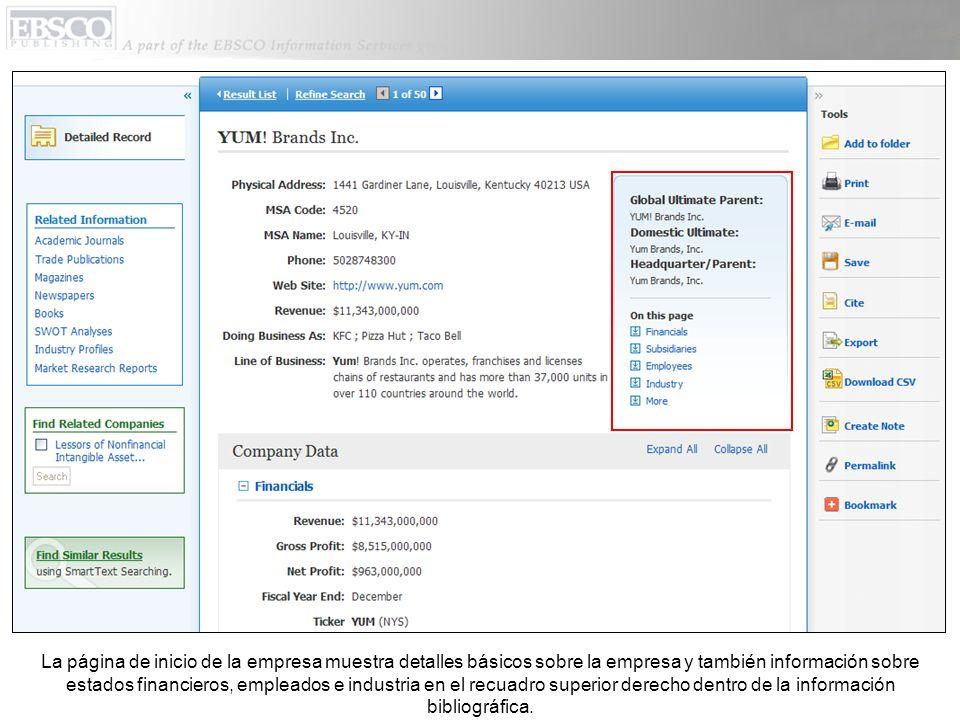 La página de inicio de la empresa muestra detalles básicos sobre la empresa y también información sobre estados financieros, empleados e industria en el recuadro superior derecho dentro de la información bibliográfica.