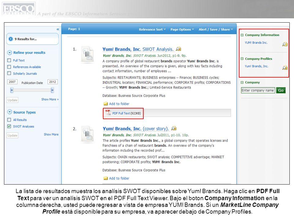 La lista de resultados muestra los analísis SWOT disponibles sobre Yum! Brands. Haga clic en PDF Full Text para ver un analísis SWOT en el PDF Full Te