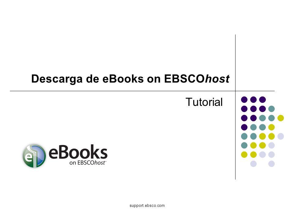 Bienvenido al tutorial de Descarga de eBook en EBSCOhost.