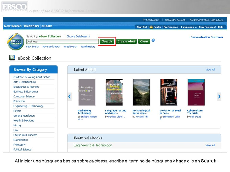 Al iniciar una búsqueda básica sobre business, escriba el término de búsqueda y haga clic en Search.