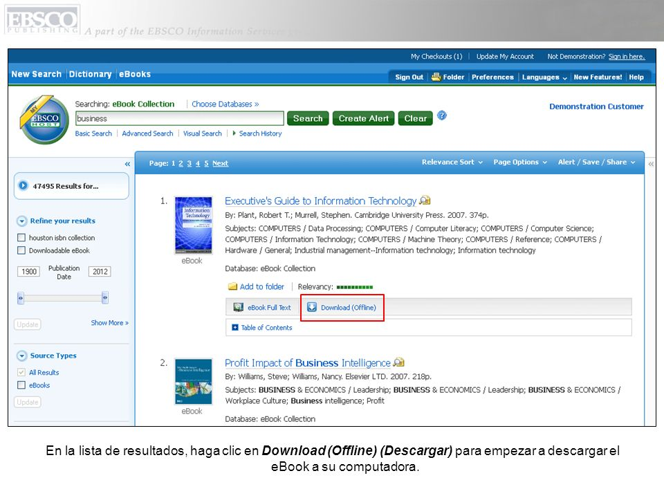 En la lista de resultados, haga clic en Download (Offline) (Descargar) para empezar a descargar el eBook a su computadora.
