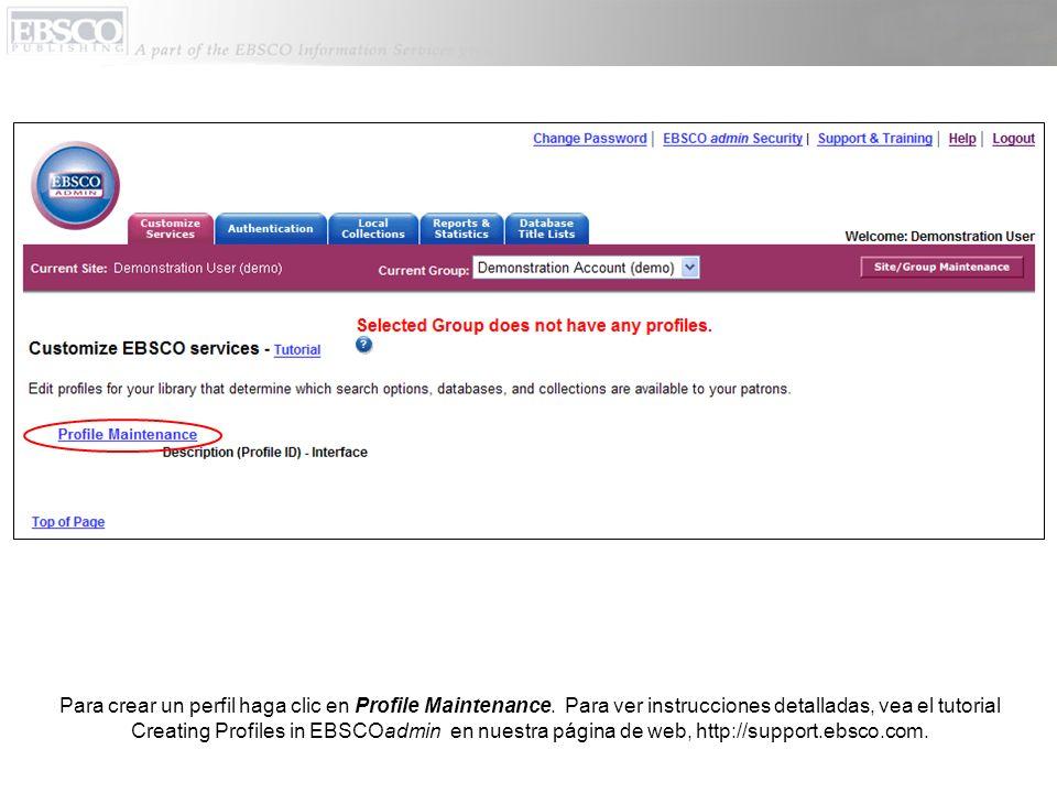 Para crear un perfil haga clic en Profile Maintenance.
