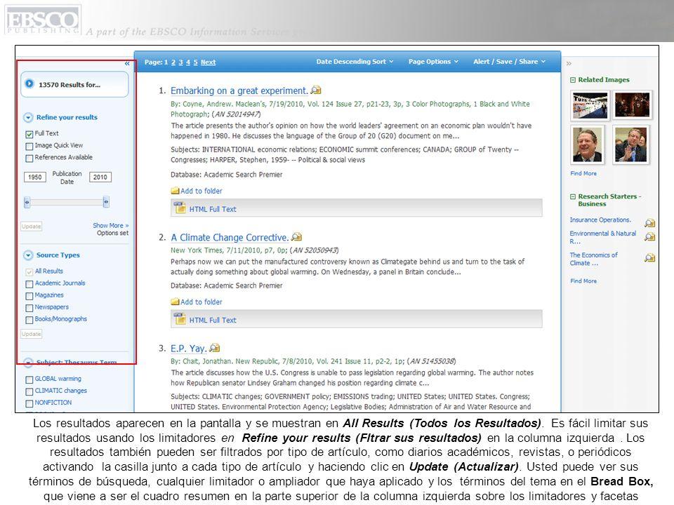 Los resultados aparecen en la pantalla y se muestran en All Results (Todos los Resultados). Es fácil limitar sus resultados usando los limitadores en