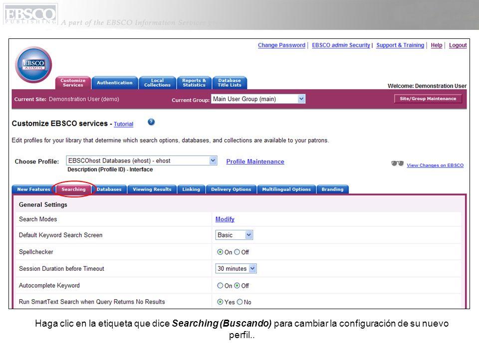 Haga clic en la etiqueta que dice Searching (Buscando) para cambiar la configuración de su nuevo perfil..