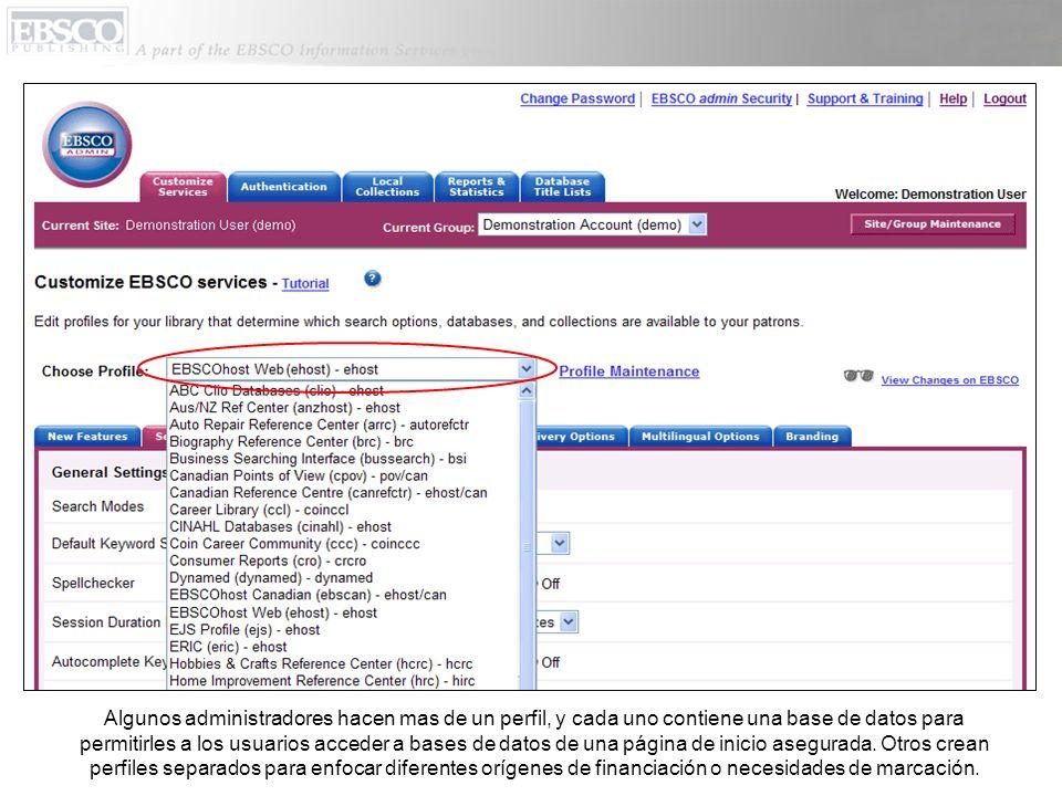 Algunos administradores hacen mas de un perfil, y cada uno contiene una base de datos para permitirles a los usuarios acceder a bases de datos de una página de inicio asegurada.