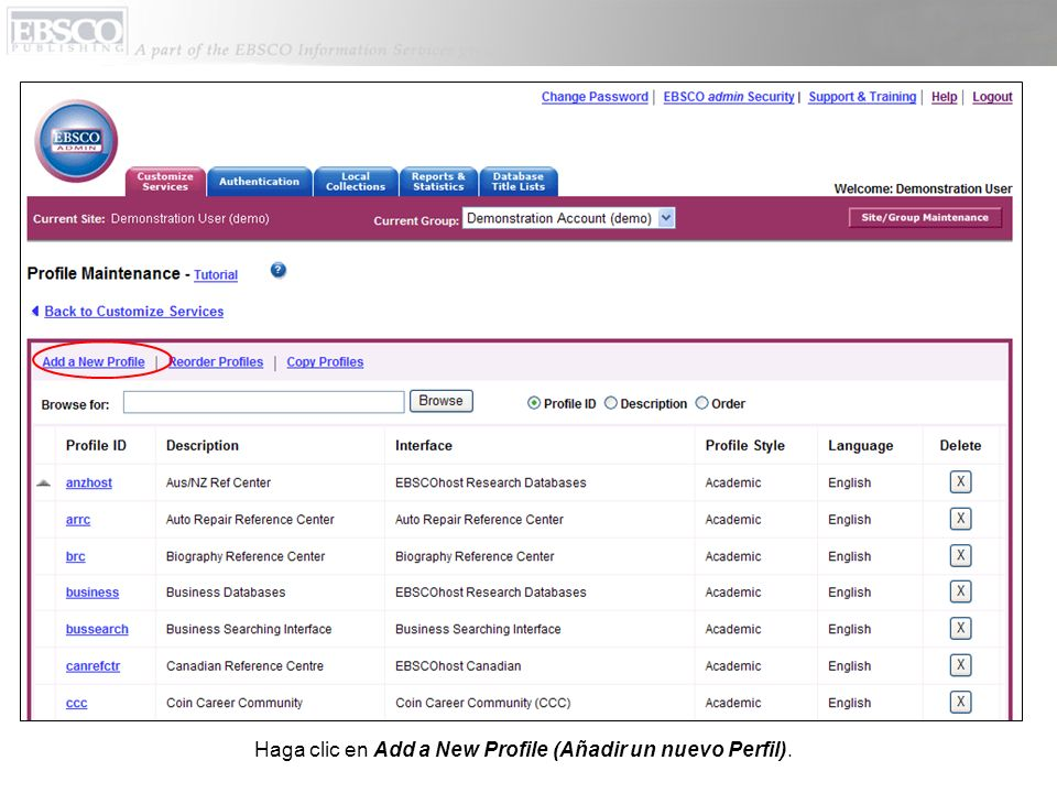 Haga clic en Add a New Profile (Añadir un nuevo Perfil).