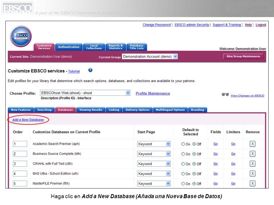 Haga clic en Add a New Database (Añada una Nueva Base de Datos)