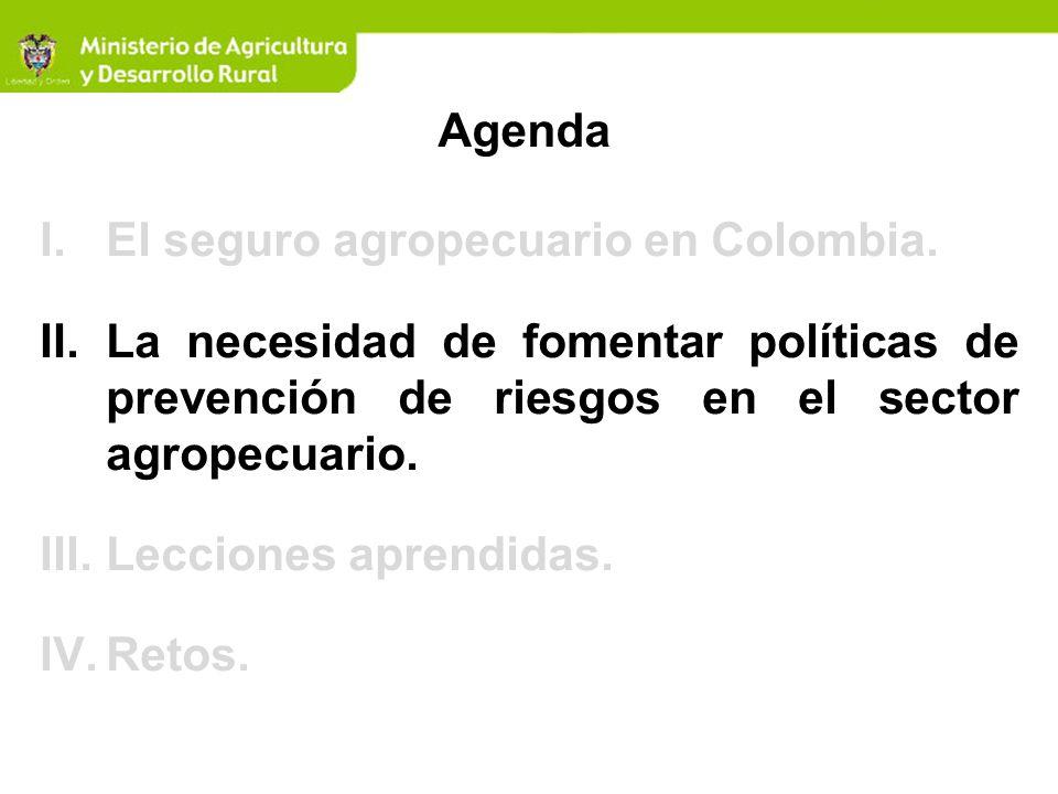 I.El seguro agropecuario en Colombia. II.La necesidad de fomentar políticas de prevención de riesgos en el sector agropecuario. III.Lecciones aprendid