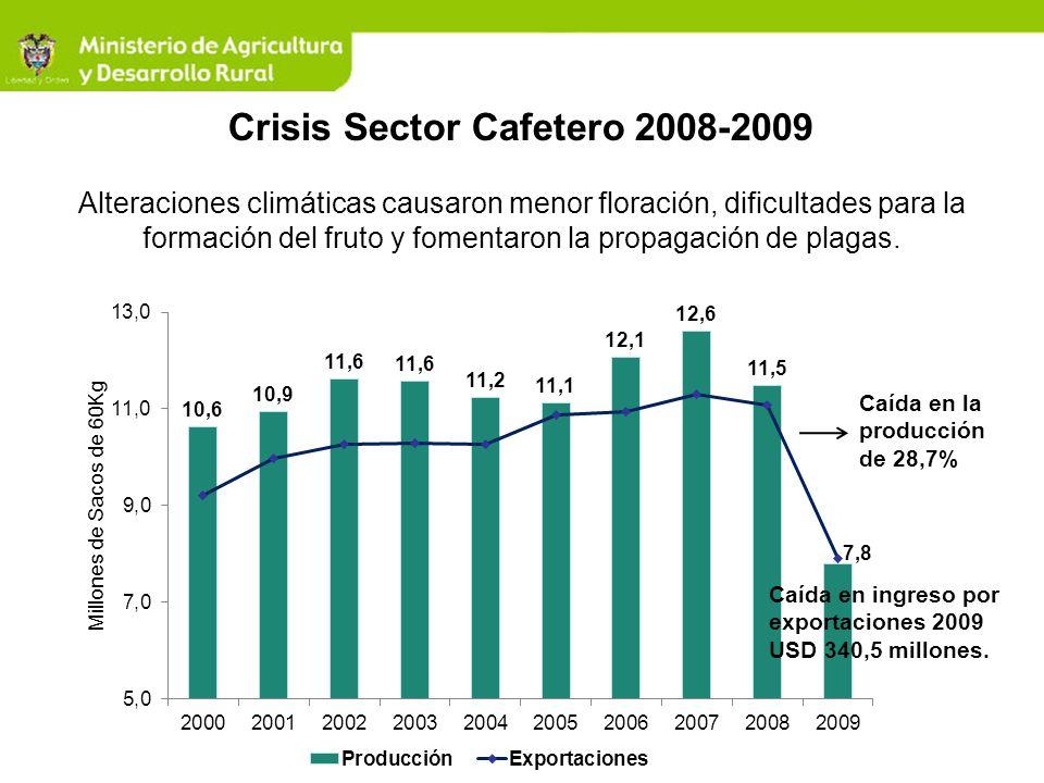 Crisis Sector Cafetero 2008-2009 Alteraciones climáticas causaron menor floración, dificultades para la formación del fruto y fomentaron la propagació