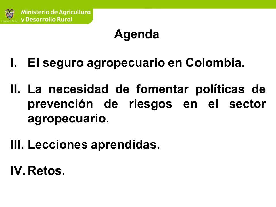 Retos Buscar mecanismos de promoción del Seguro Agropecuario en las zonas rurales.