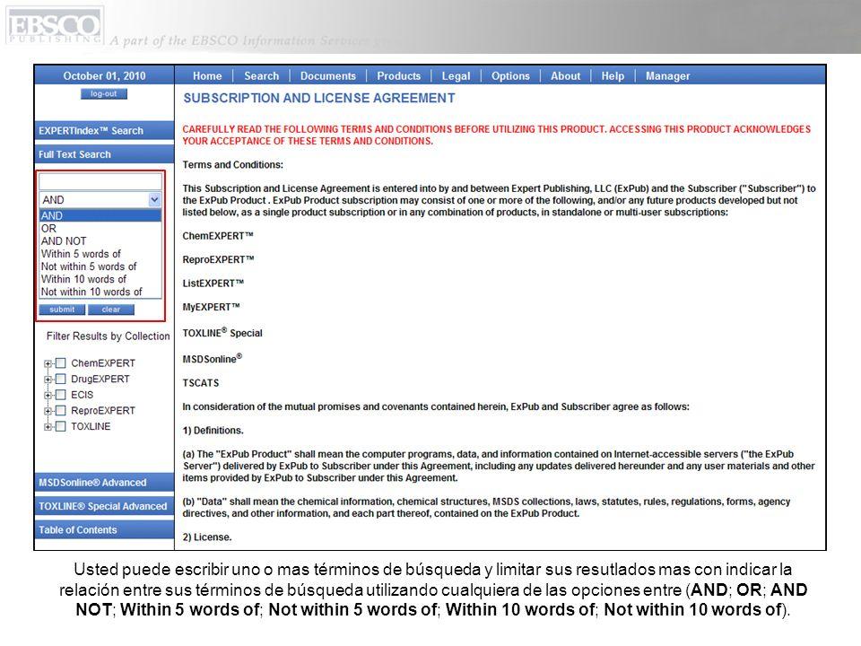 Escriba un término (por ejempl, benzene) en el cuadro que dice Full Text Search (Búsqueda de Texto Completo), selecciona una colección particular que a usted le gustaria buscar (por ejemplo ChemEXPERT) y haga clic en Submit.