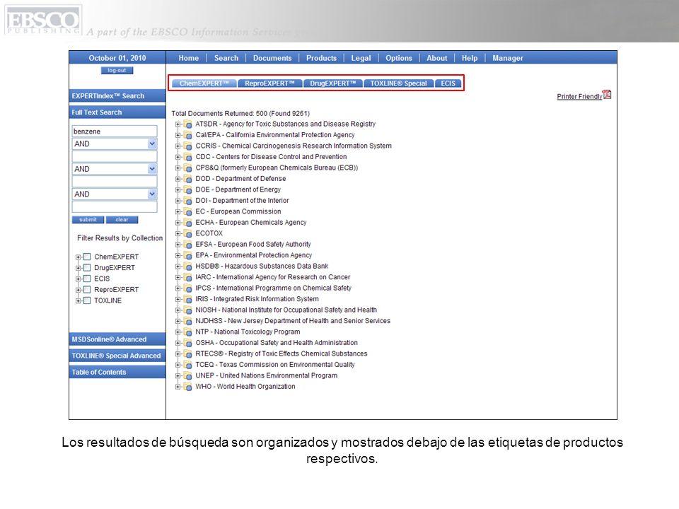 Los resultados de búsqueda son organizados y mostrados debajo de las etiquetas de productos respectivos.