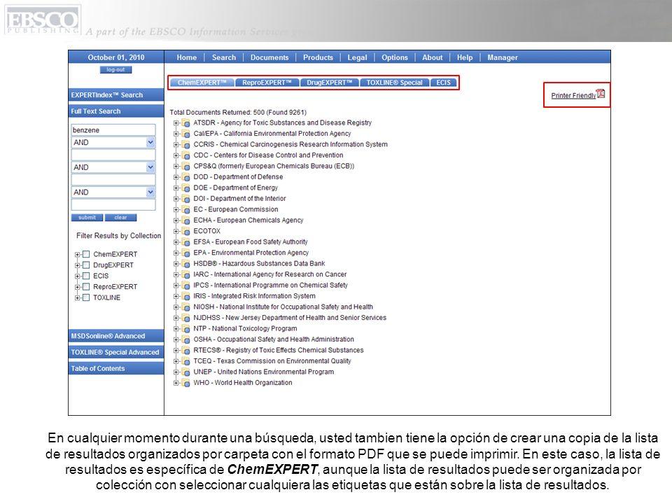 En cualquier momento durante una búsqueda, usted tambien tiene la opción de crear una copia de la lista de resultados organizados por carpeta con el f
