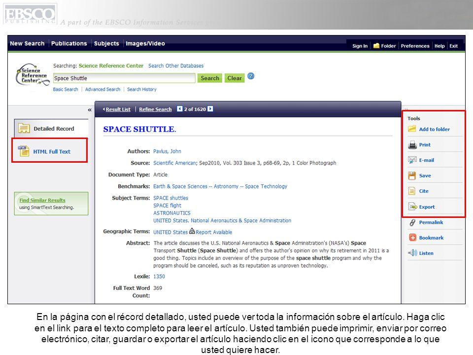 En la página con el récord detallado, usted puede ver toda la información sobre el artículo.