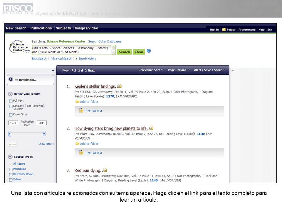 Al regresar a la pantalla para búsquedas básicas, use las flechas para navegar por las fuentes populares que están disponibles.