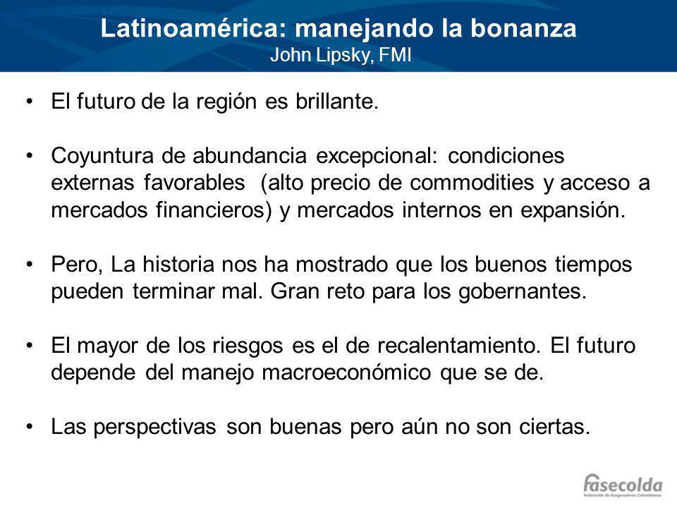 Latinoamérica: manejando la bonanza John Lipsky, FMI El futuro de la región es brillante.