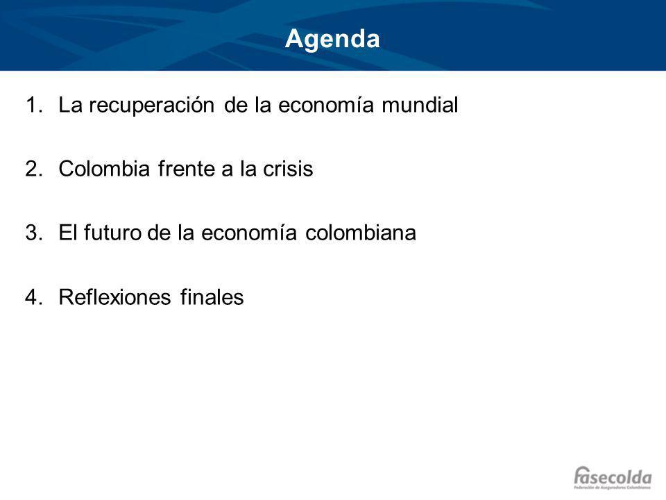 Agenda 1.La recuperación de la economía mundial 2.Colombia frente a la crisis 3.El futuro de la economía colombiana 4.Reflexiones finales