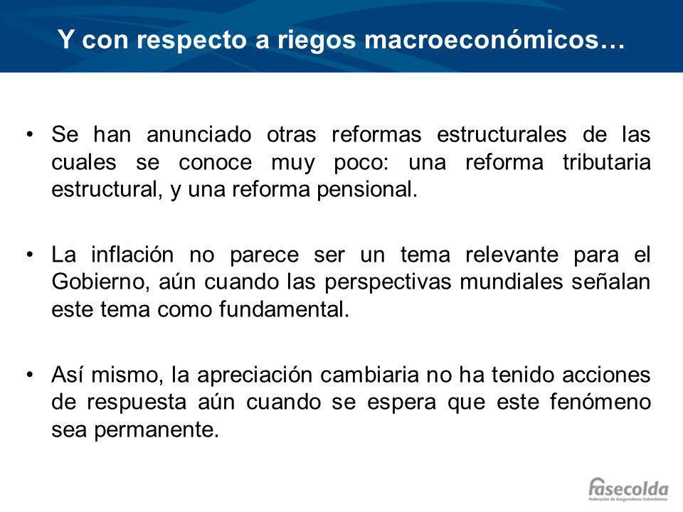 Y con respecto a riegos macroeconómicos… Se han anunciado otras reformas estructurales de las cuales se conoce muy poco: una reforma tributaria estructural, y una reforma pensional.