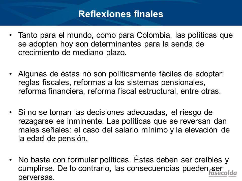 Reflexiones finales Tanto para el mundo, como para Colombia, las políticas que se adopten hoy son determinantes para la senda de crecimiento de mediano plazo.