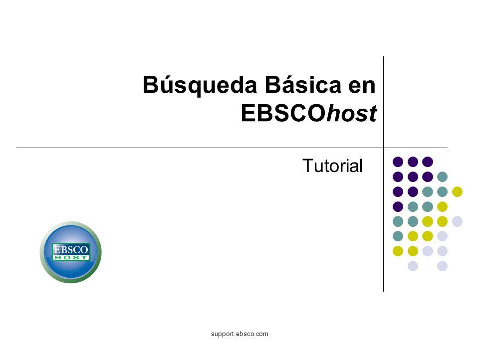 Bienvenido al tutorial de Basic Searching en EBSCOhost.