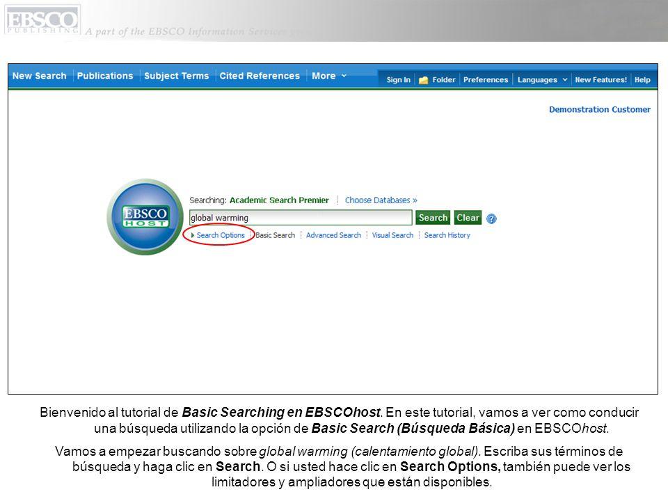 En la página de Search Options (Opciones de Busqueda), es fácil limitar y expandir sus resultados de búsqueda.