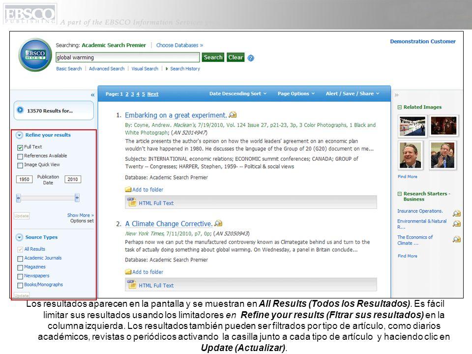 Usted puede imprimir, mandar correos electrónicos, guardar, citar o exportar un solo resultado del Detailed Record (Registro Bibliográfico Detallado) cuando usted hace clic en el título.