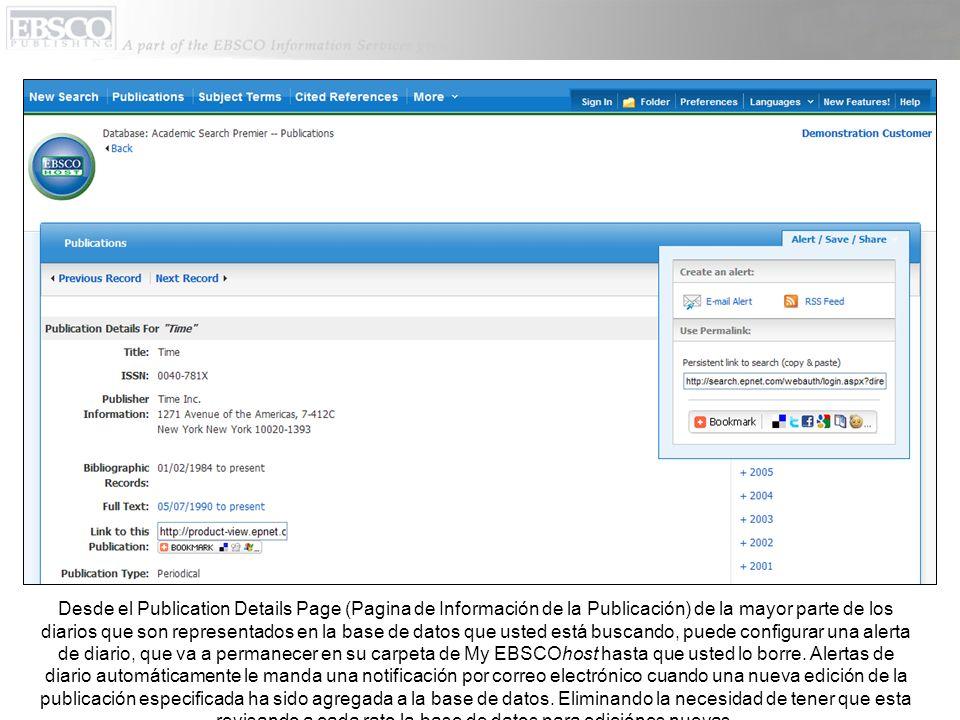 Desde el Publication Details Page (Pagina de Información de la Publicación) de la mayor parte de los diarios que son representados en la base de datos
