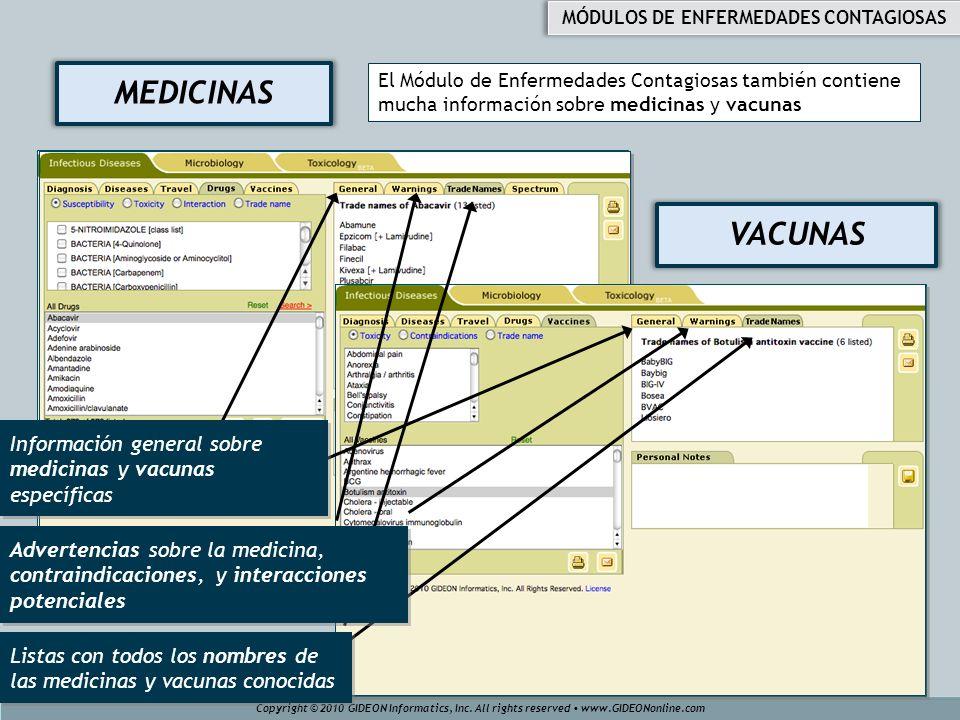 VACUNAS MEDICINAS El Módulo de Enfermedades Contagiosas también contiene mucha información sobre medicinas y vacunas Copyright © 2010 GIDEON Informati